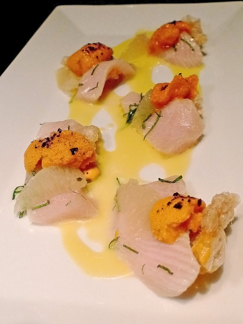 Uni on hamachi tucked in a pork rind brings a sea urchin lover to her knees. Photo: Steven Richter