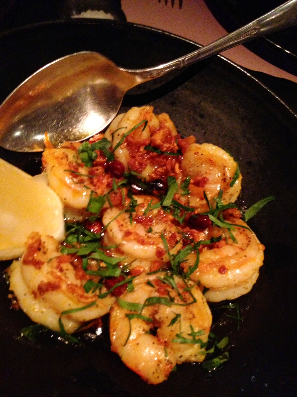 Our three foodies love these crispy shrimp with nutty bits of garlic and chili oil.