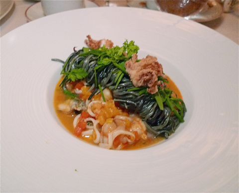 Chef Kaysen's seafood spaghetti nero is the triumph of the evening. Photo: Steven Richter