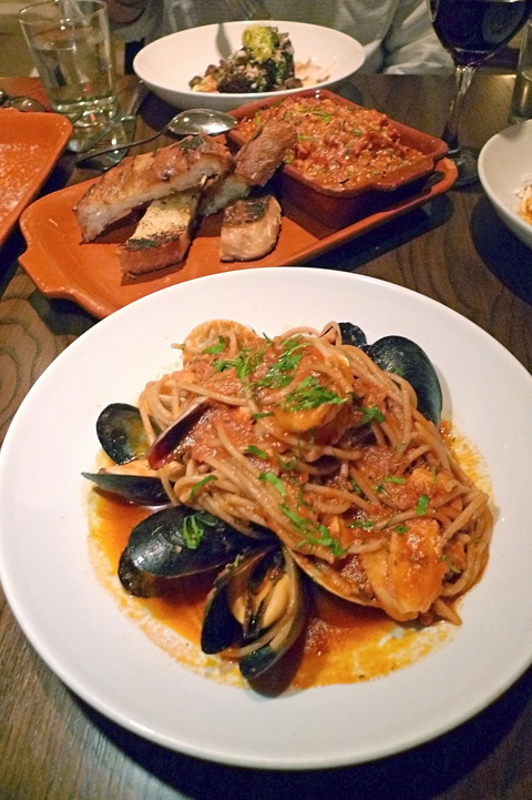 Whole wheat spaghetti with seafood and above, sensational tripe. Photo: Steven Richter