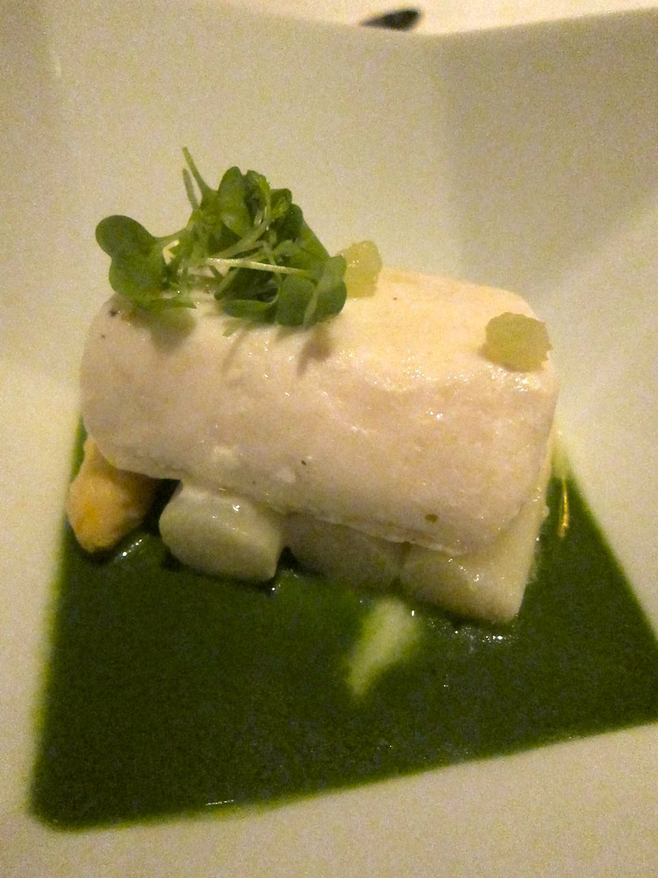 Jean-Georges' halibut in herbal lemongrass sauce disguised as a monument.