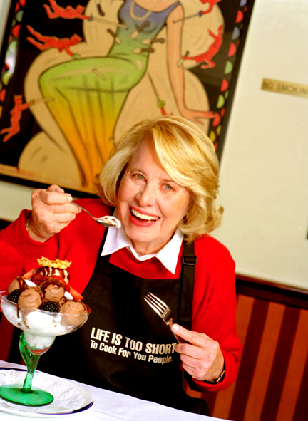 Liz Smith, grand dame of dish is a master of Texas dish too.Ignore the motto on her apron.