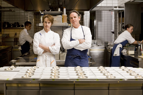 Star chefs Grant Achatz of Alinea and Thomas Keller orbit in the kitchen of Per Se: Photo: Lara Kastner