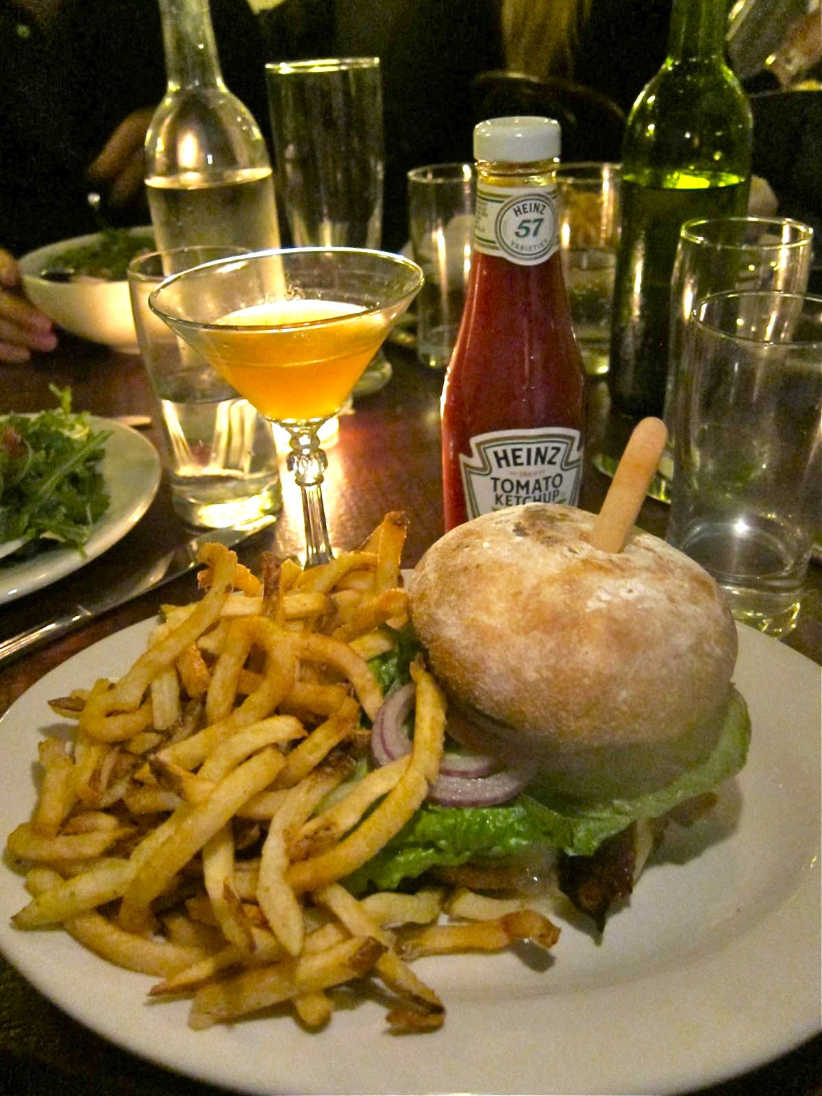 Secret sauce and very good fries make up for slightly overdone burger. Photo: Gael Greene