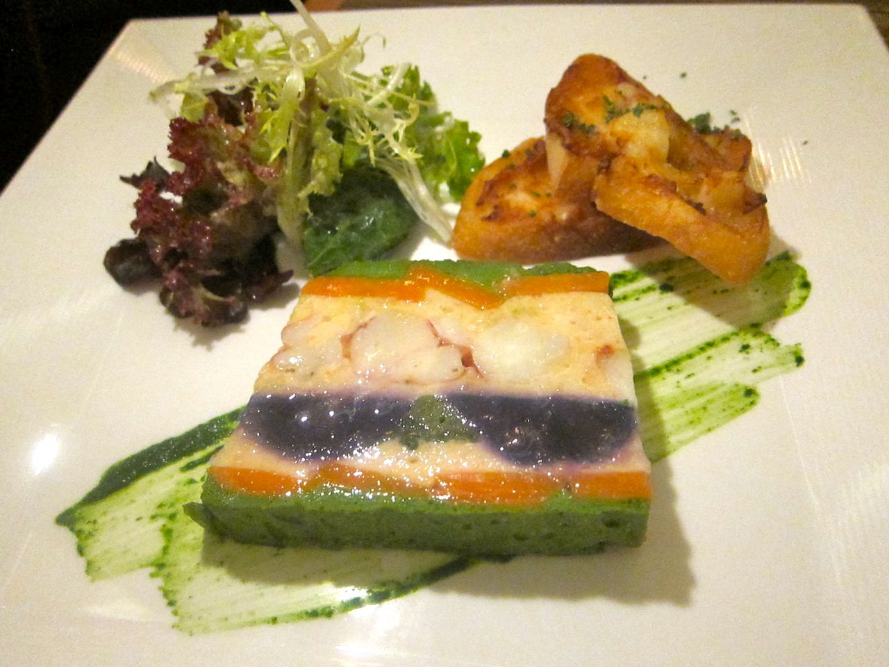 Chef Bellanco show off his impressive curriculum vitae with this lobster terrine.