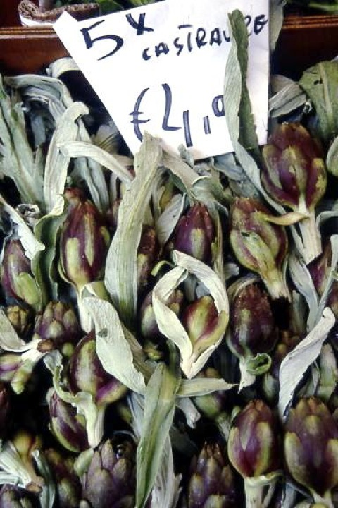 Early spring artichokes in Venice Market