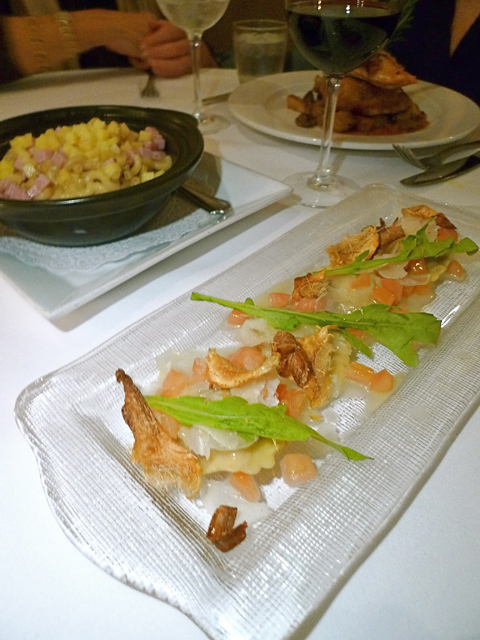 Sea bass ravioli with artichoke; macaroni and luscious chicken behind. Photo: Steven Richter