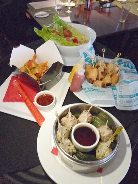 No nachos. We settle for Caesar, pigs in blankets, dumpling duo and calamari. Photo: Steven Richter