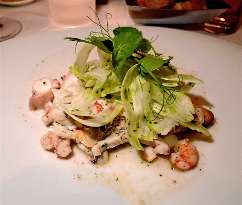 Casa Lever&rsquo;s seafood salad is delicately cooked and dressed with pizzazz. Photo: Steven Richter