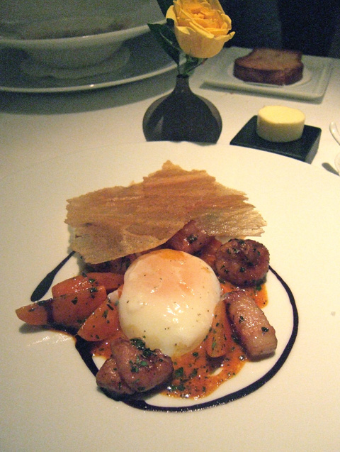 A sublime egg on exquisite sweetbreads to remember from first visit. Photo: Steven Richter