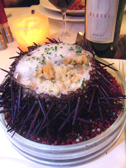 Small shrimp and sea urchin risotto under a froth in the uni shell. Photo: Steven Richter