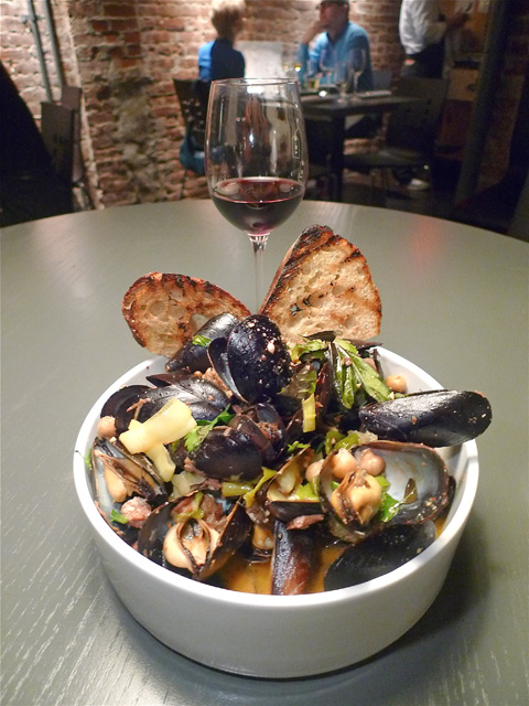 Mussels with spicy lamb and chickpeas would definitely lure me back. Photo: Steven Richter
