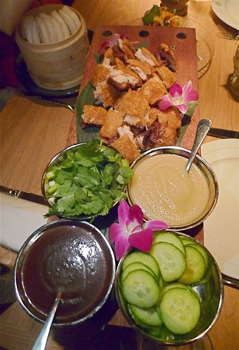 Peking pork to stuff with hoisin, scallion and cucumber into steamed buns. Photo: Steven Richter.