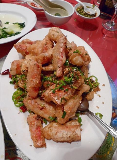Alaskan crab three ways starts with salt and pepper fried chunks. Photo: Steven Richter