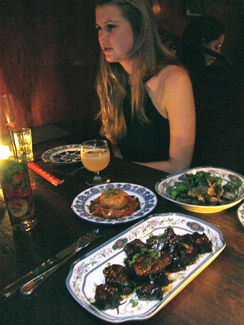 Sticky Peking ribs, clams in black bean and Portuguese fried goat cheese to start. Photo: Steven Richter