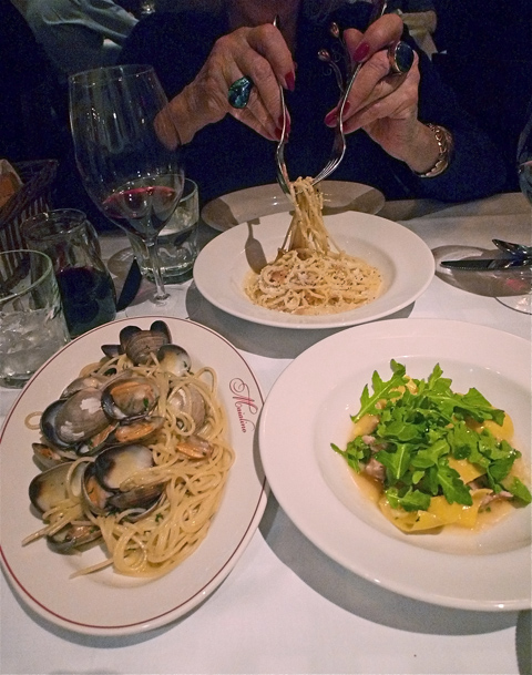 Pastas to share: tonnarelli cacio e peppe. spaghetti vongole and malfatti with pig and arugula. Photo: Steven Richter