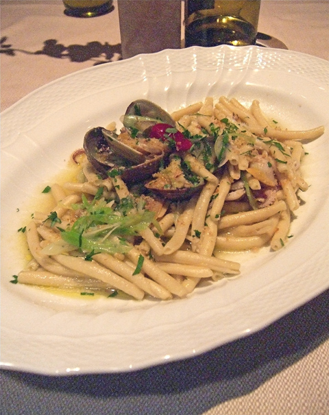 Homemade ferratini with clams, calamari and hot chili is sensational. Photo: Steven Richter