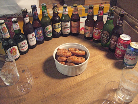 The line-up of alcohol-free beers we collected for our historic tasting. Photo: Steven Richter