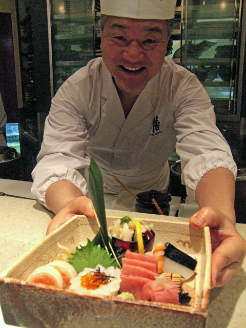 Veteran chef Toshio Suzuki create a garden of sashimi at Sushi Zen.Photo: Steven Richter