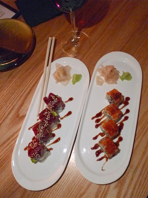 Half orders of stylishly dressed rolls at Tanuki lets us order more. Photo: Steven Richter