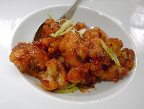 Crispy, sweet and peppery Manchurian cauliflower at Tulsi.