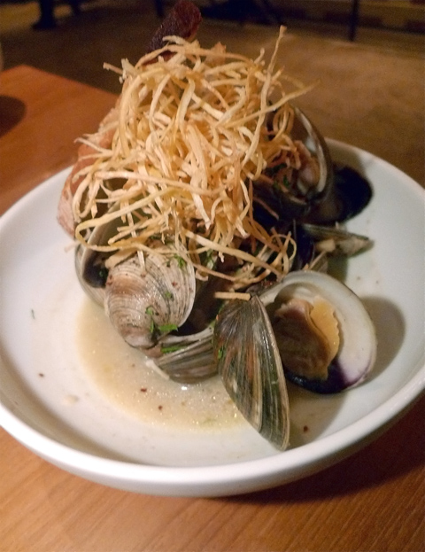 Clams poached in vanilla-spiked aquavit are topped with parsnip ...