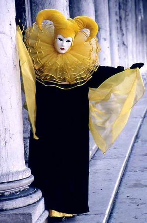 Woman in yellow, San Marco Square, Carnevale