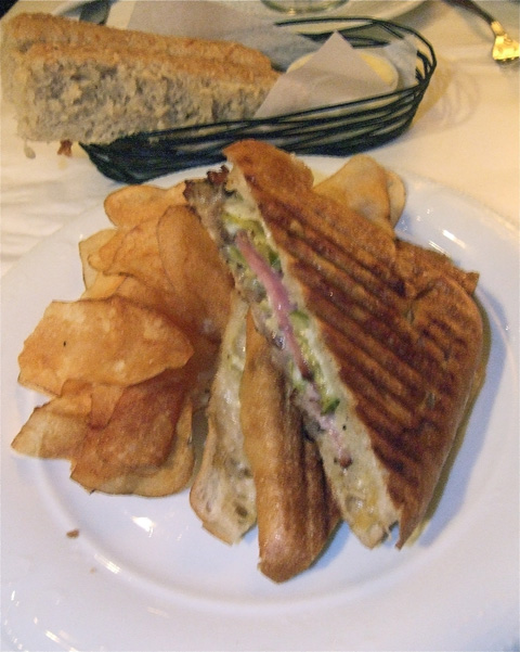 "This fabulous $14 ""Cuban"" panini is Tom Valenti's gift to the neighbors. Photo: Steven Richter"